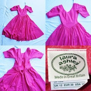VTG Laura Ashley Pink Flower Layered Bustle Dress